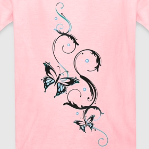 Filigree butterfly in blue and black - Kids' T-Shirt