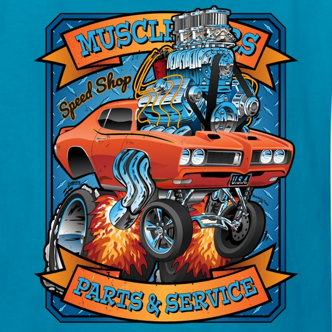 Classic Sixties Muscle Car Parts & Service Cartoon