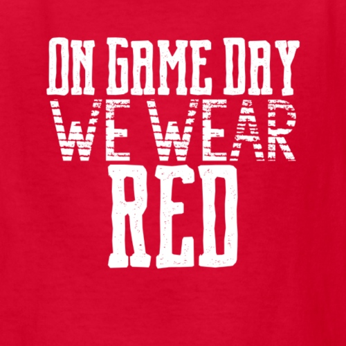 we wear red white text png - Kids' T-Shirt