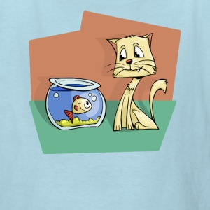 Cat and Goldfish Friends Story Illustration - Kids' T-Shirt