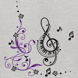 Clef with music notes and flowers - Kids' Hoodie