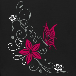 Flowers with filigree ornament and butterfly - Kids' Hoodie