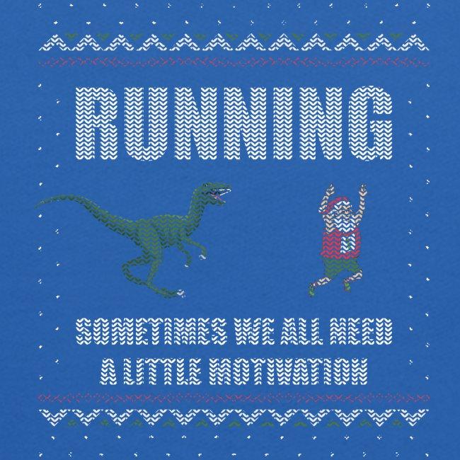 Ugly Christmas Sweater Running Dino and Santa