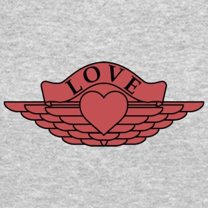Love - Wings Design (Red/Black Outline) - Crewneck Sweatshirt