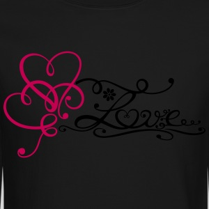 Two big hearts with lettering and flower. - Crewneck Sweatshirt