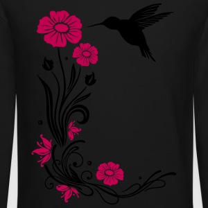 Floral motif with flowers and hummingbird. - Crewneck Sweatshirt