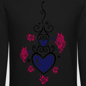 Hearts with tribal, flowers and butterflies - Crewneck Sweatshirt