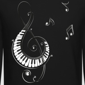Clef with piano and music notes, i love music. - Crewneck Sweatshirt