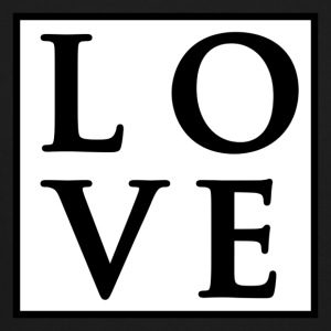 Love - Fancy Square Design (Black on White) - Crewneck Sweatshirt