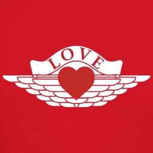 Love - Wings Design (White Outline/Red Heart) - Crewneck Sweatshirt