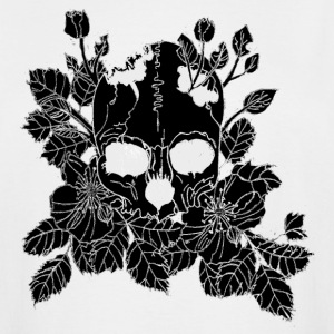 Inverted White and Black Floral Skull - Men's Tall T-Shirt