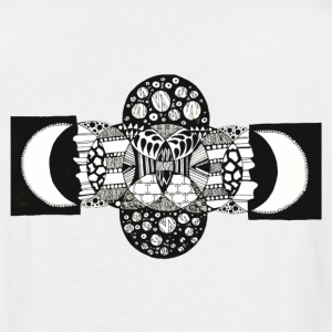 B&W Trippy Geometric Circle And Moon Art Pattern - Men's Tall T-Shirt