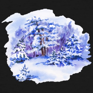 winter-landscape-drawing-painting-watercolor - Men's Tall T-Shirt