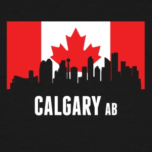 Canadian Flag Calgary Skyline - Men's Tall T-Shirt