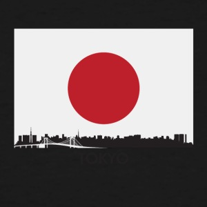 Tokyo Japan Skyline Japanese Flag - Men's Tall T-Shirt