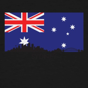 Sydney Australia Skyline Australian Flag - Men's Tall T-Shirt