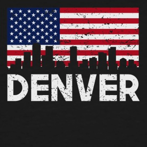 Denver CO American Flag Skyline Distressed - Men's Tall T-Shirt