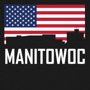 Manitowoc Wisconsin Skyline American Flag - Men's Tall T-Shirt