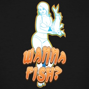 sexy_girl_offering_fish - Men's Tall T-Shirt