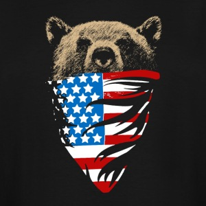 Grizzly bear with american bandana flag - Men's Tall T-Shirt