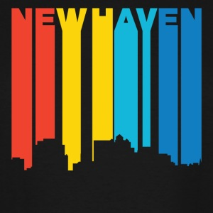 Retro 1970's Style New Haven Connecticut Skyline - Men's Tall T-Shirt