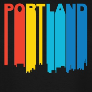 Retro 1970's Style Portland Maine Skyline - Men's Tall T-Shirt