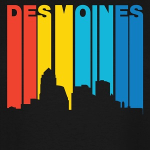 Retro 1970's Style Des Moines Iowa Skyline - Men's Tall T-Shirt