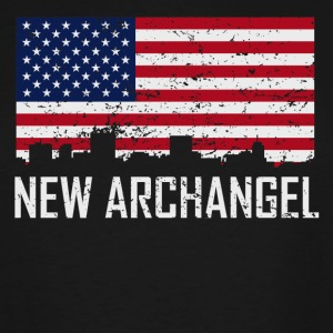 New Archangel Alaska Skyline American Flag - Men's Tall T-Shirt