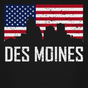 Des Moines Iowa Skyline American Flag Distressed - Men's Tall T-Shirt