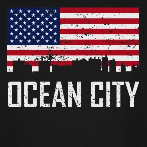 Ocean City Maryland Skyline American Flag - Men's Tall T-Shirt