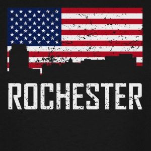 Rochester Minnesota Skyline American Flag - Men's Tall T-Shirt