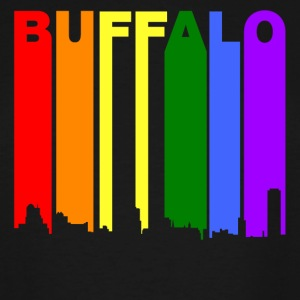 Buffalo New York Gay Pride Rainbow Skyline - Men's Tall T-Shirt