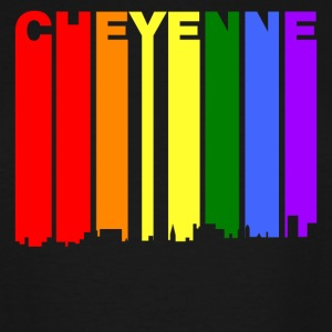 Cheyenne Wyoming Gay Pride Rainbow Skyline - Men's Tall T-Shirt