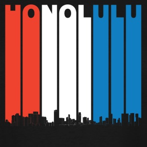 Red White And Blue Honolulu Hawaii Skyline - Men's Tall T-Shirt