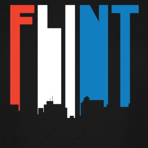 Red White And Blue Flint Michigan Skyline - Men's Tall T-Shirt