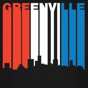Red White Blue Greenville South Carolina Skyline - Men's Tall T-Shirt