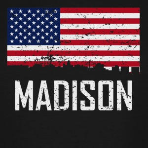 Madison Wisconsin Skyline American Flag - Men's Tall T-Shirt