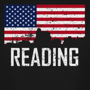 Reading Pennsylvania Skyline American Flag - Men's Tall T-Shirt