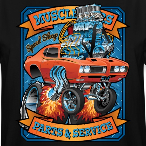 Classic Sixties Muscle Car Parts & Service Cartoon - Men's Tall T-Shirt