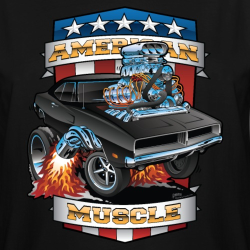American Muscle Patriotic Muscle Car Cartoon - Men's Tall T-Shirt