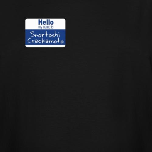 Snortoshi Crakamoto Name Tag Bitcoin Creator - Men's Tall T-Shirt