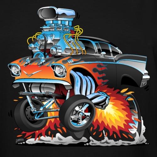 Classic hot rod 57 gasser dragster car cartoon - Men's Tall T-Shirt