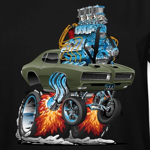 Classic American Muscle Car Hot Rod Cartoon - Men's Tall T-Shirt