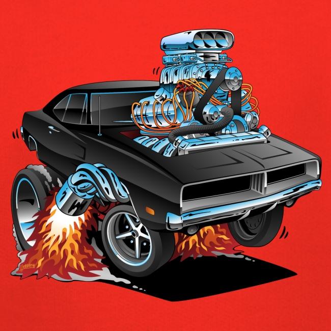 Classic 69 American Muscle Car Cartoon