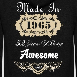 Made in 1965 52 years of being awesome - Unisex Fleece Zip Hoodie by American Apparel