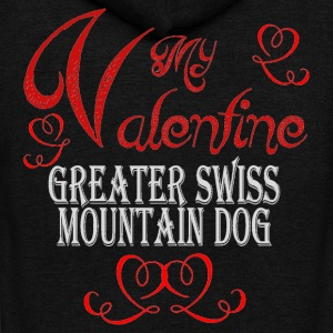 A romantic Valentine with my Greater Swiss Mountai - Unisex Fleece Zip Hoodie by American Apparel