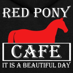 Red Pony Cafe Shirt - Unisex Fleece Zip Hoodie by American Apparel