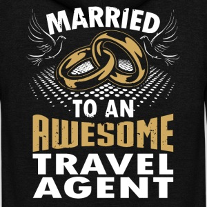 Married To An Awesome Travel Agent - Unisex Fleece Zip Hoodie by American Apparel