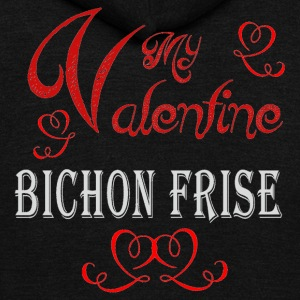 A romantic Valentine with my Bichon Frise - Unisex Fleece Zip Hoodie by American Apparel