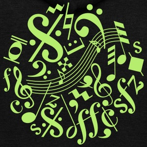 Music Notes and Signs - Unisex Fleece Zip Hoodie by American Apparel